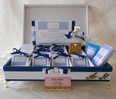 kit-toalete-branco-e-azul Gift Wrapping, Gifts, Toilet, Bathrooms, Boxes, Mariage, Blue, Paper Wrapping