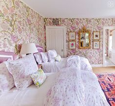 "Experiment with print-on-print-on-print, even in the bedroom, by Noa Griffel, from the book ""Tory Burch In Color"""