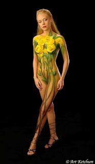 Gisele Bundchen Sun Flower Full Body Painting Girl