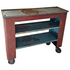Industrial Shelved Cart of Steel and Original Paint on Wheels.