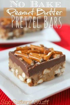 No Bake Peanut Butter Pretzel Bars - This puts normal Peanut Butter Bars to shame! www.sixsistersstuff.com