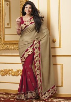 Beige and Red Faux Chiffon and Faux Crepe Jacquard Saree with Blouse @ $115.01