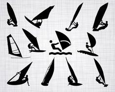 Windsurfing SVG, Wind Surfing SVG, Windsurfing Clipart, Windsurfing Cut Files For Silhouette, Files Train Clipart, Alien Ship, Silhouette Png, Snow Skiing, Silhouette Studio Designer Edition, Vinyl Cutting, Cricut Design, Cutting Files, Surfing
