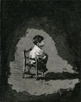 I made this etching/aquatint on a copper plate about 30 years ago, only producing about 6 prints so far. The child is waiting patiently in a world full of fun and adventure.  ~ John Bowers