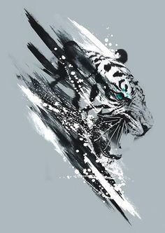 Awesome black and white tiger. Style: Watercolor. Tags: Cool, Best, Creative