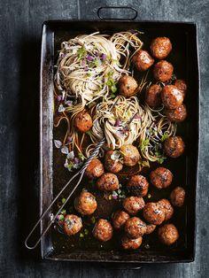 sticky sesame and ginger pork meatballs with soba noodles
