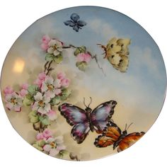 Antique Limoges Plate Hand Painted Butterfly