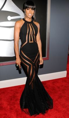 One word for Kelly Rowland in Georges Chakra at the Grammys: Yowza.