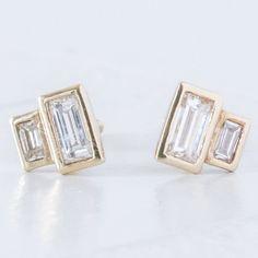 Minimalist diamond earrings - geometric diamond studs- recycled diamonds - modern diamond studs - designer earrings