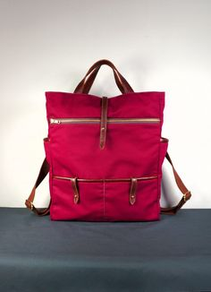 Hudson Backpack in Maroon Twill and Brown Leather by HangaBag