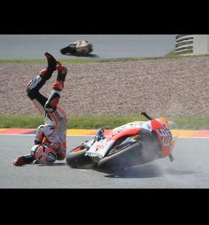 Poor Marc Marquez crashed during sachsenring free practice, he high sided landing heavily on his head! ! 2014
