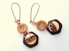 Brown Betty Vintage Button recycled handmade earrings by spankyluvsvintage2 for $5.00