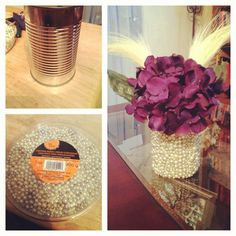 Home decor on a budget!  Tin can.. Pearls.. Hot glue gun  Tre chic!