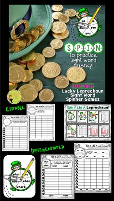 Editable Sight Word Spinner Games! Use leprechauns & rainbow spinners to improve sight word fluency! Students will read, write, and graph sight words + analyze the data on their graph. Great for centers, homework, and fun! $