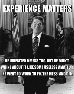 The last time I prospered was under his administration. They laughed at him because he had been an actor....but He relied on his faith in God to lead this nation. I miss that....