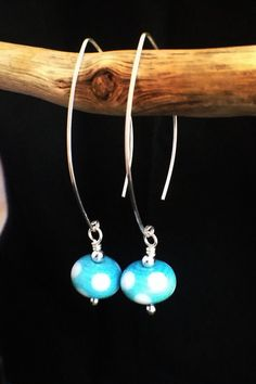 Turquoise blue polka dot beads on sterling by AmySquaredJewellery