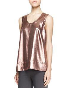 Sleeveless Metallic T-Shirt by Brunello Cucinelli at Neiman Marcus.