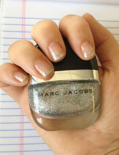 Glitter tipped mani with Marc Jacobs Beauty Hi-Shine Nail Lacquer in Glida #Sephora #MarcTheMoment #Nailspotting