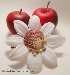 Seashell Flower Barrette Hybrid White Daisy by TheWolfsTreasure, $16.25