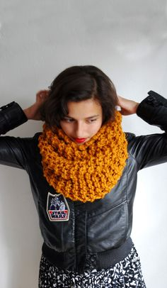 The Manhattan Cowl Hand Knit in Mustard Wool Blend by RememberADay, $45.00