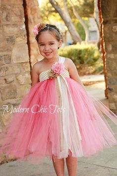 Burlap and Pearls Tutu Dress.  Flower girl tutu