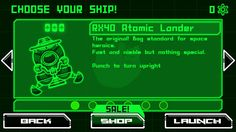 Atomic super lander Ship selection screen. Android game