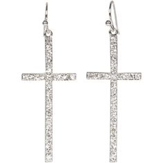 Heirloom Finds Silver Tone Crystal Cross Dangle Earrings 2' Long * Click on the image for additional details.
