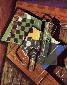 Juan Gris - The Checkerboard, 1915. Art Institute of Chicago. Juan Gris was more calculating than any other Cubist painter in the way he composed his pictures. Every element of a painting was considered with classical precision: line, shape, tone, colour and pattern were carefully refined to create an interlocking arrangement free from any unnecessary decoration or detail.