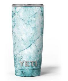 Cracked Turquoise Marble Surface Yeti Rambler Skin Kit