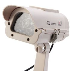 Solar Powered Security Camera Realistic Looking Surveillance Camera with Flashlight LED – Milky