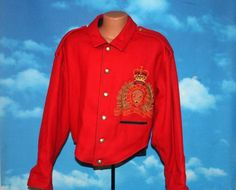 Looking Forward The Force RCMP Style North West Mounted Police Large Red Jacket Vintage by nodemo Nylons, Police, Shell, Looking Forward, North West, 1980s, Leather Jacket, Vintage, Cotton