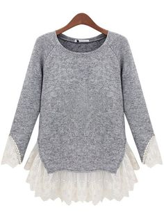 Cowgirl Chic Grey Knit and Lace Sweater | Always About Horses