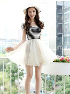 Sweet Short Sleeve Striped Casual Dress - BuyTrends.com