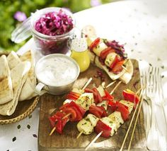 The Cypriot cheese is a great choice for meat-free skewers as it doesn't melt- these barbecue-friendly veggie bites are budget-friendly too Bbc Good Food Recipes, Veggie Recipes, Salad Recipes, Vegetarian Recipes, Healthy Recipes, Veggie Bbq, Healthy Food, Veggie Bites, Cabbage Salad