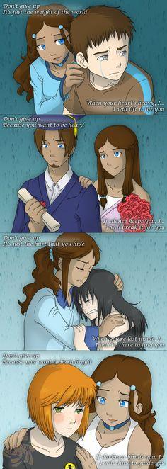SRU - You Are Loved by Sakura-Rose12.deviantart.com  (Katara with Aang, Soka, Toph, and Smeller Bee)