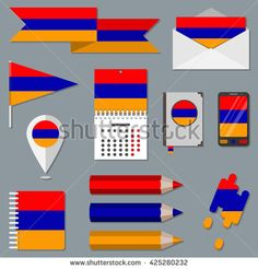Set of icons with flag elements. Armenia