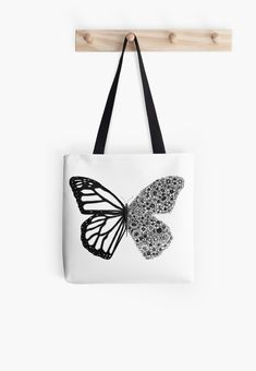 'Floral Butterfly' Tote Bag by Rockyvillaruel Tote Bag Organizer, Disney Alphabet, Hard Wear, Butterfly Design, Diy Bags, Animal Tattoos, Flower Wallpaper, Black And White Colour, Painting For Kids