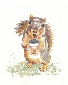 Squirrels Love Coffee Too - ORIGINAL Watercolor Painting - 8x10