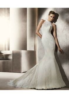 Lace Sweetheart Neckline And Lace Overlay With High Collar Mermaid Skirt With Chapel Train 2012 Wedding Dress WD0111