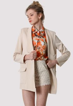 Charms Double Breasted Nude Blazer