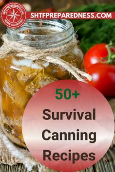 You are going to love these survival canning recipes by SHTF Preparedness. This article contains over 50 recipes that can be canned and kept fresh for later. If you are an emergency prepper, or you simply believe in having plenty of long-lasting food in your pantry, this post is for you. Check out this article now for more details, and start canning now! #prepper #emergencyprepper #canningfood #howtocanfood #foodcanningrecipes