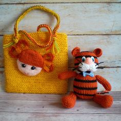 Toy Tiger Orange Knitted Amigurumi Doll Baby Tiger Toy Knitted