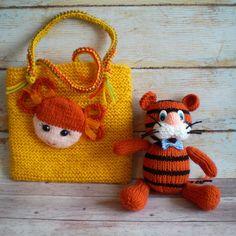 Tiger stuffed toy Orange tiger Knitted Amigurumi tiger Doll