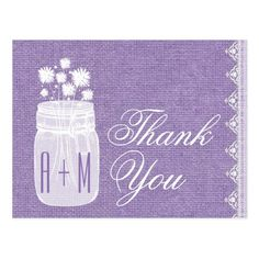 Rustic Mason Jar and Flowers Thank You Purple A21 Postcard