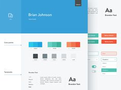 Dribbble - Brian Johnson – Style Guide by Tomasz Zagórski Website Style Guide, Brand Style Guide, Brian Johnson, Blog Design, Ui Design, Graphic Design, Interface Design, Type Design, Identity Design