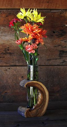 Rustic Hollow Log Vase Wood Home Décor Accent por TheRusticNature