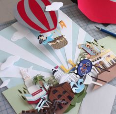 :) inspirational 3D paper art collage, hot air balloon ride, great card or wall plaque design.