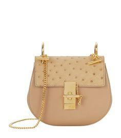 Chloé Mini Drew Leather and Ostrich Shoulder Bag in Chestnut | Harrods
