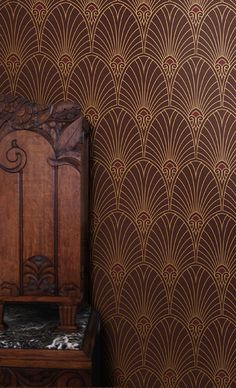NEW Havana Art Deco Wallpaper in Mahogany--The very paper used in the Onyx Club office set in *Boardwalk Empire* that I've long admired!