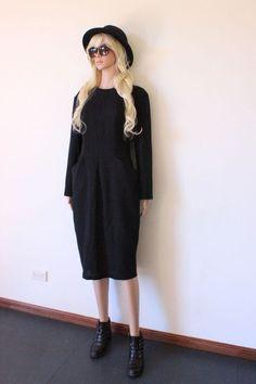 VINTAGE BLACK DRESS designer WOOL LBD TRENDY INDIE classic retro hipster sz 12
